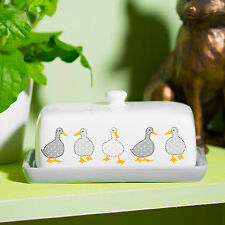 Grey Ducks Butter Storage Dish with Lid Ceramic Dining Table Serving Bowl Fridge