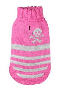 "Hip Doggie Dog Puppy Pink Turtleneck L Skull Sweater L 12"" Long 14""-16"" Chest"