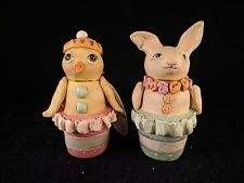 LOT OF 2 Janell Berryman Pumpkinseeds Folk Art Easter BUNNY/CHICK CUP-CAKE