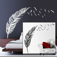 Large Feather Wall Art PVC Sticker Vinyl Decal Living Room Bedroom Home Decor