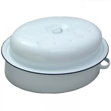Falcon Enamel White Traditional Oval Roaster Roasting 26cm with Lid Casserole