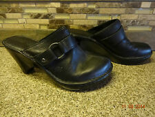 Womens Born Sz 8/39 M/W Black Leather Mules Clogs Shoes Heels GREAT