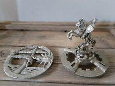 Pewter Miniature Fantasy Excalibur Sword & Knight horseman 1989 Gallo Figurine