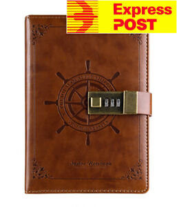 B6 Brown Rudder Leather Vintage password Lock Notebook Diary JOURNAL Express