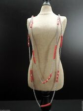 Fossil Chain Necklace Orange Bead Dual Layer Brass-tone New! NWT