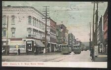 POSTCARD ELMIRA NY/NEW YORK WEST WATER ST BUSINESS STORE FRONT W/ TROLLEYS 1907