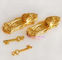 1:12 Dollhouse Miniatures Door Hardware Knob and  Key 2 Set #OA0060