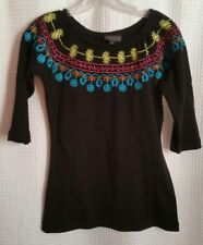 Cattlelac Ranch Women's Large Black Embroidered Top 3/4 Sleeve