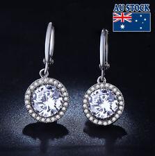Cz Crystal Dangly Hoop Earrings Wedding Elegant 18K White Gold Filled Round Big