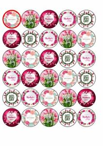 30 x Cup Cake Edible Cake Topper Edible Rice Paper Happy Mothers Day