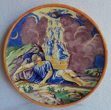 Assiette décorative décor peint scène Mythologique majolique Italienne signée