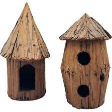2 Rustic Wooden Birdhouses Round Mushroom Cap Roof Bark Indoor Outdoor Garden