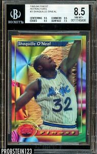 1993-94 Topps Finest Partial Refractor Error Shaquille O'Neal Super Rare BGS 8.5