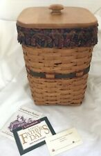 Longaberger 1995 Father's Day Mini Waste Basket + Lid, Plastic & Fabric Liners