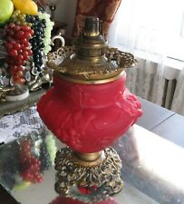 GORGEOUS ANTIQUE 1800'S BRADLEY & HUBBARD RED SATIN GLASS OIL LAMP