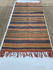 Small oblong striped kilim rug with tassels LSE090421G