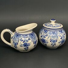 "VTG 4"" Royal Delft Blue & White Creamer/Pitcher & Sugar Bowl With Lid Holland"