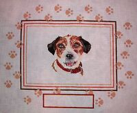 JG Dog Picture with Paw Prints HP Handpainted Needlepoint Canvas