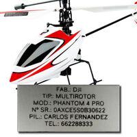 Placa Helicoptero RC Chapa Aluminio Identificacion Grabada Simulus Silverlit