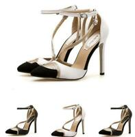 Womens Pointed Toe Rhinestones Ankle Strap Stiletto High Heel Pumps Shoes Party