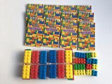 12 X 12 x borrador sacapuntas y 12 Mini Portátil Lego ladrillo Relleno Bolsa Fiesta