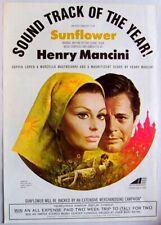 HENRY MANCINI 1970 Poster Ad SUNFLOWER sophia loren & marcello mastroianni