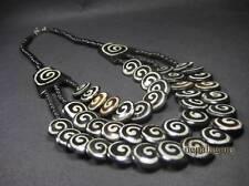 N4078 Tribal Gypsy Handcraft spiral Bone beads STATEMENT strands NECKLACE TIBET