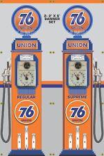 GAS PUMP SET UNION 76 GAS STATION OLD TOKHEIM DISPLAY BANNER SIGN ART 2- 2' X 6'