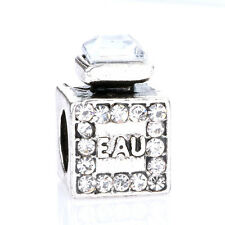 925 Silver Perfume bottles Clear CZ Crystal Loose Spacer Charm Bead For Bracelet