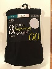 NEW- Marks and Spencer black tights. Size Small. 60 denier.