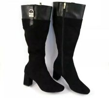 Calvin Klein Cosetta Black Suede High Tall Riding Boots Stacked Heel Size 7 New