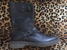 New Dirk Bikkemberg Pop Leather Moto Boots  45 Black