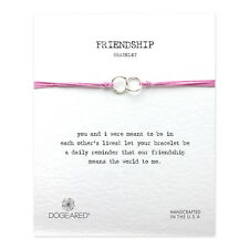 Dogeared Friendship Double-Linked Sterling Rings Pink Cord Adjustable Bracelet