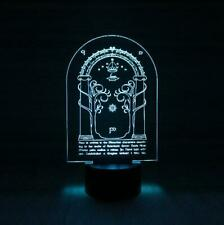 LED 3D Lamp Laser engraved - Lord of the rings Door of Durin. Elvin.
