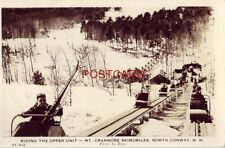 RPPC - 1947 photo by Bray RIDING THE MT, CRANMORE SKIMOBILES, NORTH CONWAY, N H