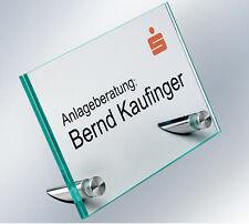 Floatglas Tischaufsteller Namensschild Werbeaufsteller Büroschild Infoschild