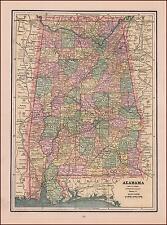 ALABAMA, ANTIQUE MAP, ORIGINAL 1891