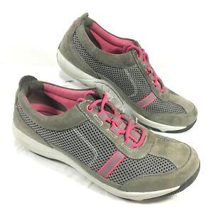 Women's Dansko Gray & pink Suede & Mesh Sneakers Helen Sz 37 US 6.5-7