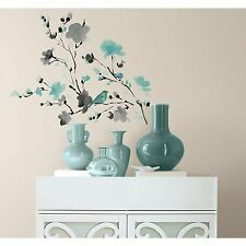 BLOSSOM WATERCOLOR Wall Decals Bird Branch Room Decor Stickers Blue Flowers NEW