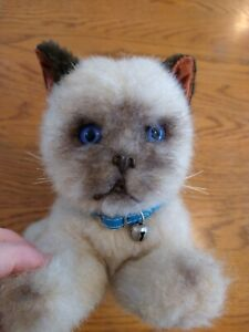 Vintage cream cat - siamese? blue collar,bell - Real soft toys, watford     4/11