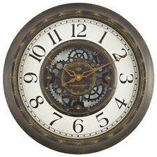 "15.5"" Industrial Gear Wall Clock Aged Bronze Finish Modern Steam Punk Theme"