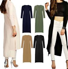 Ladies Womens Step Drop Hem Maxi Duster Coat Long Kimono Jacket Blazer Boyfriend