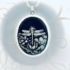 DRAGONFLY Painted CAMEO SILVER PLTD LOCKET NECKLACE - 925 Silver plated Chain