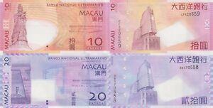 Macao/Macau (BNU) 2 Note Set: 10 & 20 Patacas (8.8.2013) p-80c, p-81c UNC