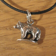 Wolf Charm Pendant Necklace .925 Sterling Silver USA Made Men Dog Timber Husky