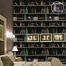 3DRustic Vintage Book Shelf Print Library Bookcase Wallpaper Roll For Study Room