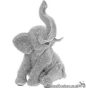 Glitzy sitting sat Elephant ornament figurine glittery decoration Gift boxed