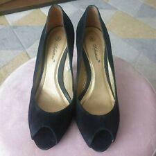 Black Suede Peep Toe Heels Size 6