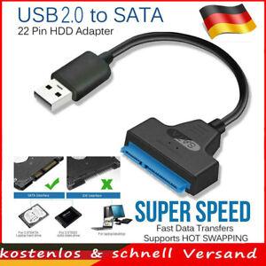 """USB 2.0 auf SATA 22pin Adapter Konverterkabel für 2,5"""" HDD SSD Festplatten PC"""