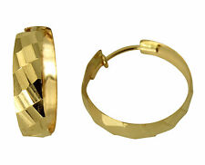 """14k Yellow Gold 3.6mm Thickness Multifaceted Domed Hoop Earrings 16mm 5/8"""""""